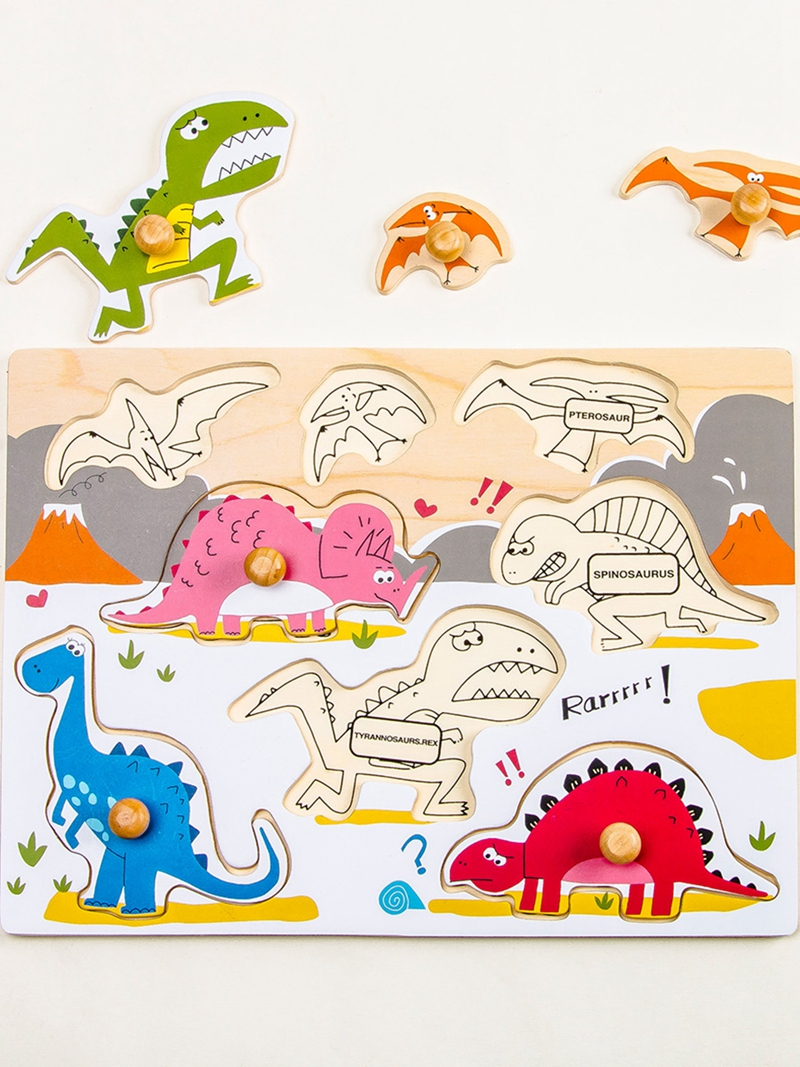 Children Cute Cartoon English Math Dinosaur Puzzle Early Education Wooden Toy RD