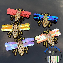1pc 3D Handmade bee Patches for clothing DIY sew on sequin rhinestone parches Animals Beaded appliques hats bags sewing kits