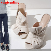 Stylish Peep Toe Women Slipper High Thin Heel Bow Tie Embellish Shoes Chaussures Femmes Flip Flops