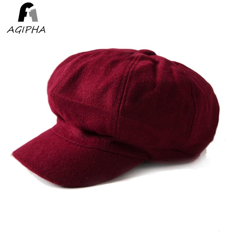 Women Octagonal Caps Solid Color Warm Woolen Female Casquette Autumn Winter Bonnet Hats Ladies Black Hat Cap Brand New 2022