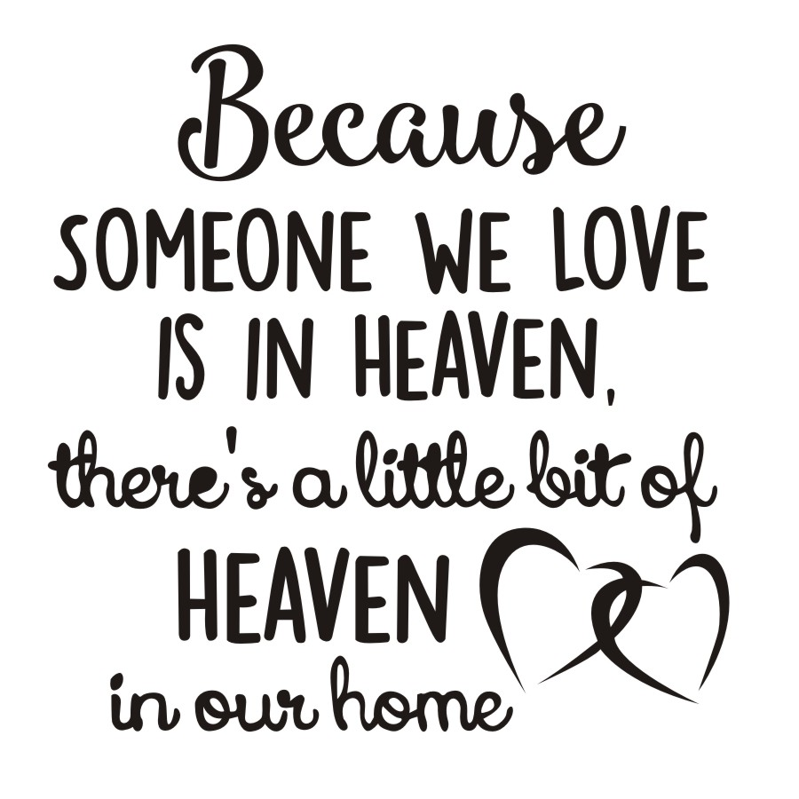 Because Someone We Love Is In Heaven Quotes Wall Stickers double Hearts Wallpaper Removable Vinyl Wall Decals Bedroom Home Decor in Wall Stickers from Home