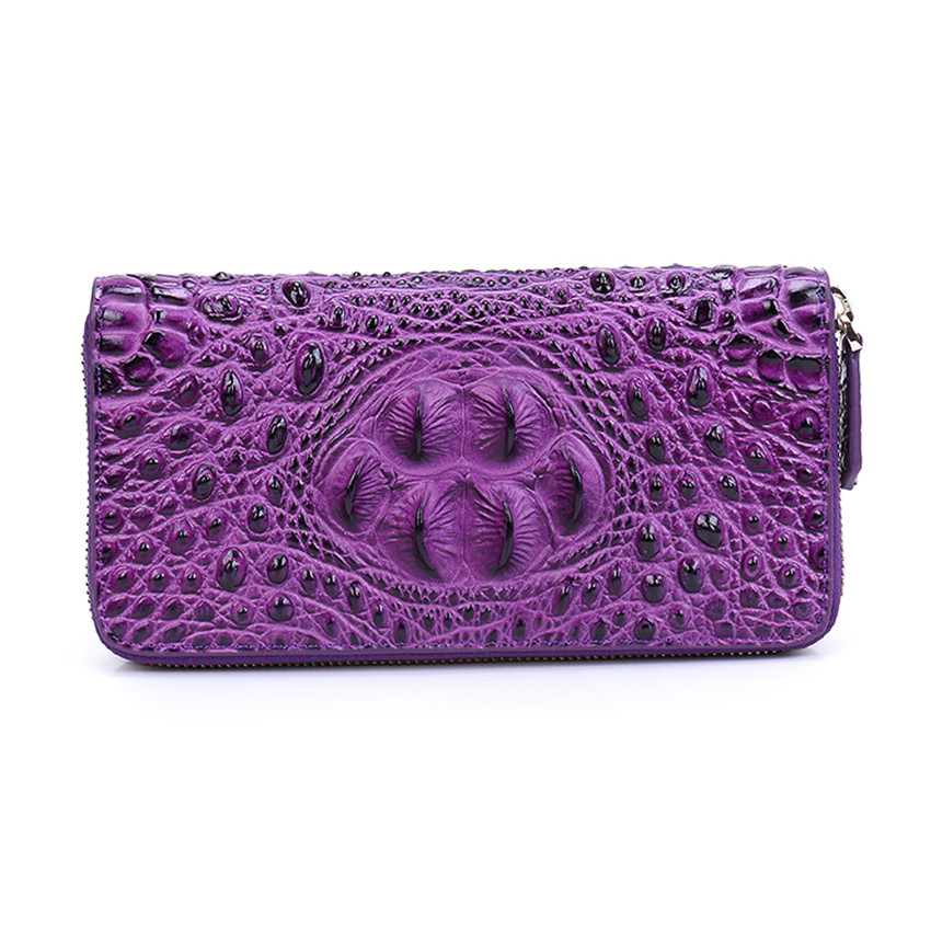 2018 Women Genuine Leather Zipper Bag Alligator Cowhide Wallet Card Money Holder Clutch Purse Long Purple Wallets Coin Pocket brand handmade genuine vegetable tanned leather cowhide men wowen long wallet wallets purse card holder clutch bag coin pocket