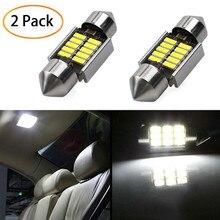 2 uds 3030 SMD luces de cúpula de mapa 31mm luz LED 6500K blanco SMD domo de coche Lámpara de lectura de doble punta bombilla de techo lámparas LED para coches