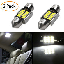 2Pcs 3030 SMD Map Dome Lights 31mm LED Light 6500K White SMD Car Dome Double Tip Reading Lamp Roof Bulb LED Lamps For Cars