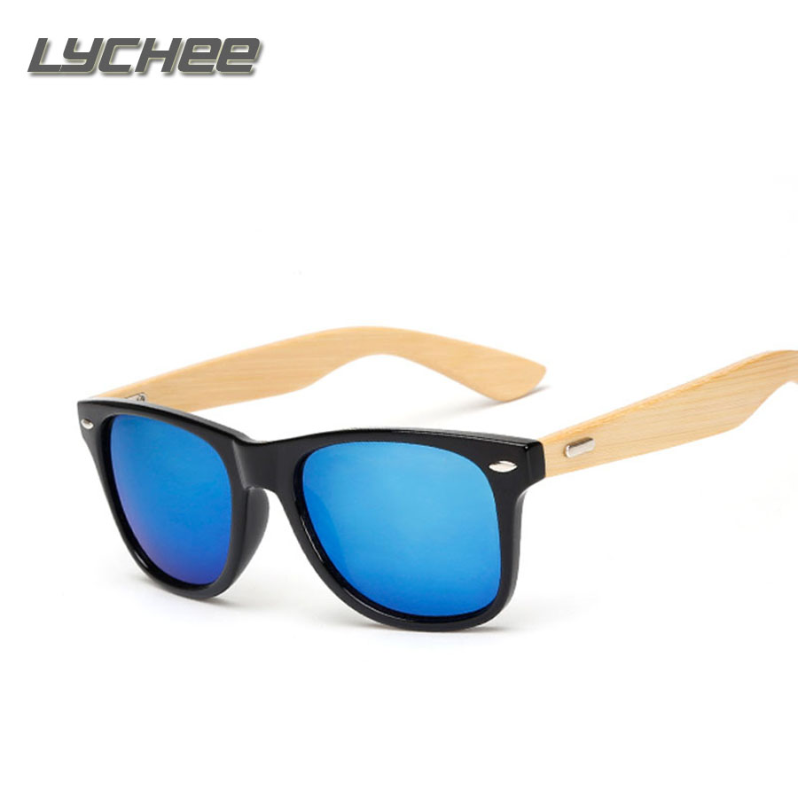 LYEHEE 2017 Retro Bamboo Wood font b Sunglasses b font Men Women Brand Designer Goggles Gold