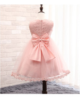 Cute Retail Baby Girl Elegant Lace Dress Fashion Pink Big Bow Party Tulle Flower Princess Wedding