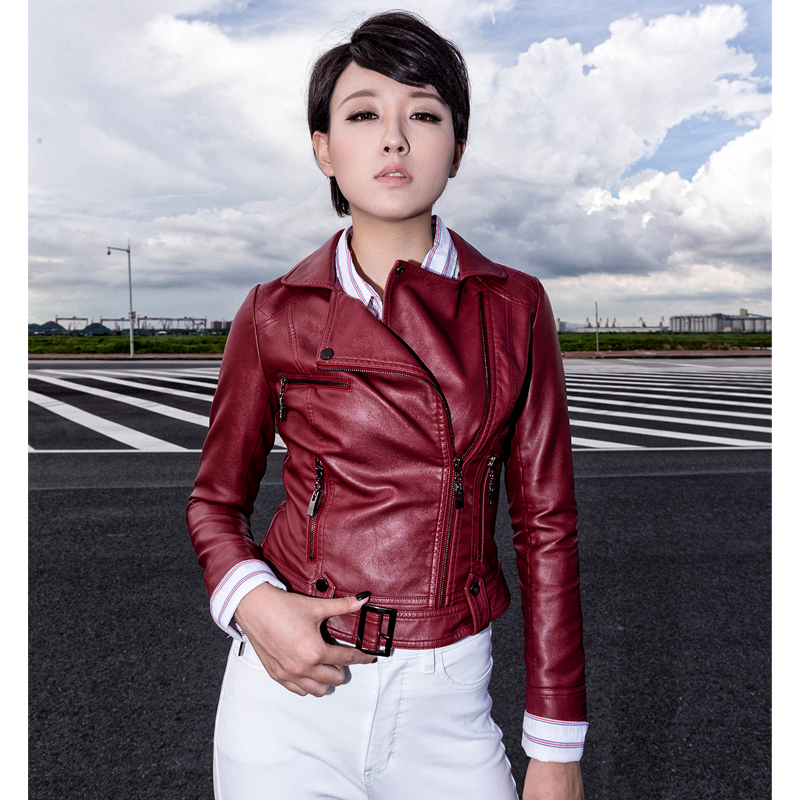 2017 Autumn   Leather   Jacket Lady Short Washed PU Faux   Leather   Biker Jackets Fashion Street Women Coat Veste Cuir Femme 16B1627