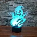8 unids/lote 7 que cambia de Color Que Destella 3D Fantasma Fantasma de Acrílico LLEVADO Mal multicolor Lámpara de mesa Luz de la noche con alimentación USB de 3D LED