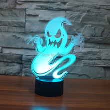 8pcs/lot 7 Color changing 3D Flashing Ghost Acrylic LED Evil Specter Night Light with USB power multicolor table Lamp of LEDS