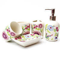 Korean style Japanese ceramic bathroom five piece bathroom toiletries set lotion bottle brushing cup soap dish wedding gift