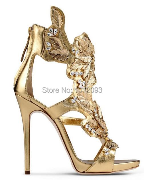 1085ef1557d768 Designer 2015 Elegant 120mm Jeweled Metallic Leather Sandals .