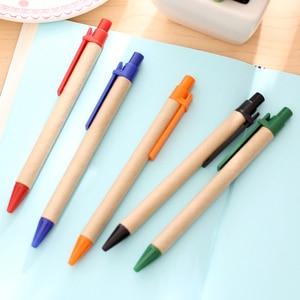 Image 2 - 100 יח\חבילה נייר כדור עט קידום מכירות עט ECO משלוח חינם קליפ פלסטיק Eco כדור עט נייר