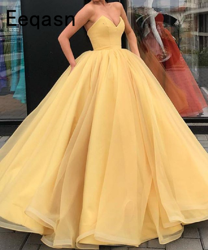 Long Ball Gown Yellow Prom Dress 2020 Elegant