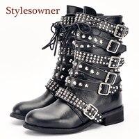 Stylesowner новые Одежда высшего качества большой пряжкой Strappy Спайк Заклёпки заклепки женские короткие ботинки в стиле панк мотоботы Обувь женщ