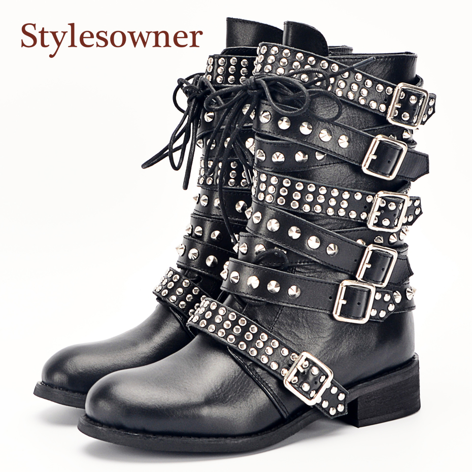 exclusive range so cheap various colors Stylesowner Newest Top Quality Big Buckle Strappy Spike Rivets Studs Women  Short Boots Punk Cool Motorcycle Boots Shoes Woman