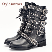 Stylesowner Newest Top Quality Big Buckle Strappy Spike Rivets Studs Women Short Boots Punk Cool Motorcycle Boots Shoes Woman