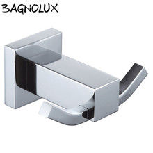 High Quality Bathroom Square Wall Hanger Stainless Steel Hooks Dual Robe Hangers Towel Accessories
