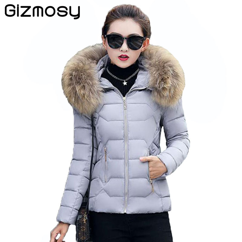 2017 Autumn Winter Jacket Women Parkas Warm Coat Fashion Female Down Jacket With a Hood Large Faux Fur Collar Outwear SY003-1