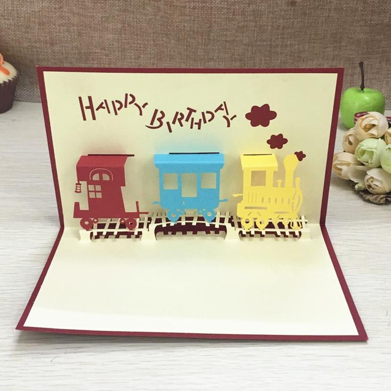 1pcs Happy Train Laser Cut Paper Greeting 3D Pop Up Kirigami Card Wedding Invitation Birthday Valentine's Day Postcards Gifts (2)