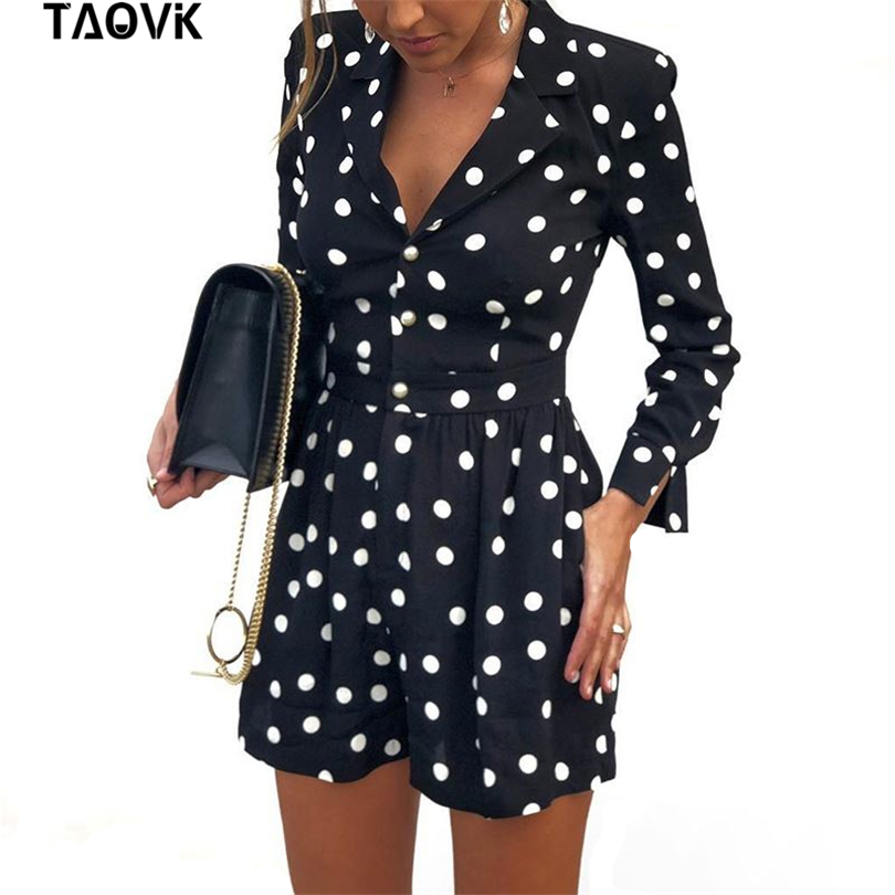 TAOVK Short Jumpsuit Playsuits-Dot Overalls Elegant Dots-Printed Fashion Women V-Neck