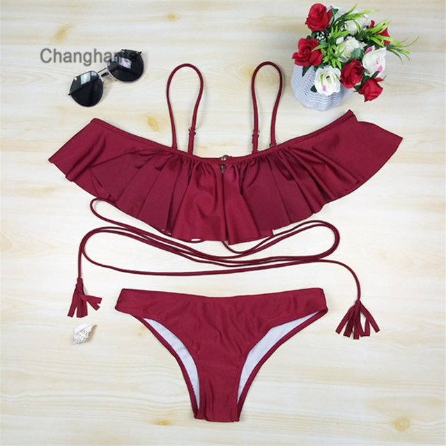 87336fc33dc77 2018 New Model Sexy Women Bikinis Set Red or Colorful Striped Solid Off  Shoulder with Swimsuit Swim Two Pieces Swimwear Bathing