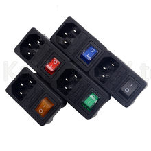 Red Rocker Switch Fused IEC320 C14 Inlet Power Socket Fuse Switch Connector Plug Connector With 10A Fuse(China)