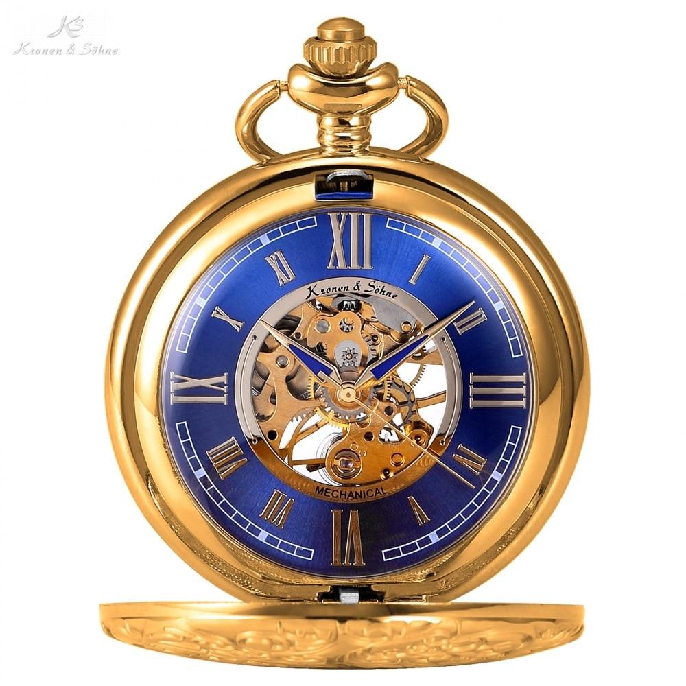 KS Golden Steampunk Roman Mechanical Blue Pocket Watch Hand Winding Men Clock Fobs Long Chain Key Pendant Watches + Box /KSP073