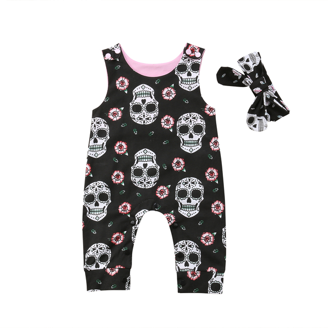 00ac73fa9 Halloween Newborn Baby Boy Girl Sleeveless Skull Floral Romper ...