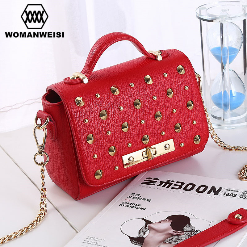 7f8d8fb4d9c7 Korean 2017 New Fashion Rivet Punk Style Leather Small Women Handbags  Chains Messenger Shoulder Bags Female Crossbody Bolsos-in Top-Handle Bags  from Luggage ...
