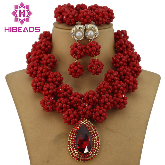 Amazing Sharp Red African Costume Jewelry Set Indian Bridal Nigerian Wedding Beads Free Shipping Gs145
