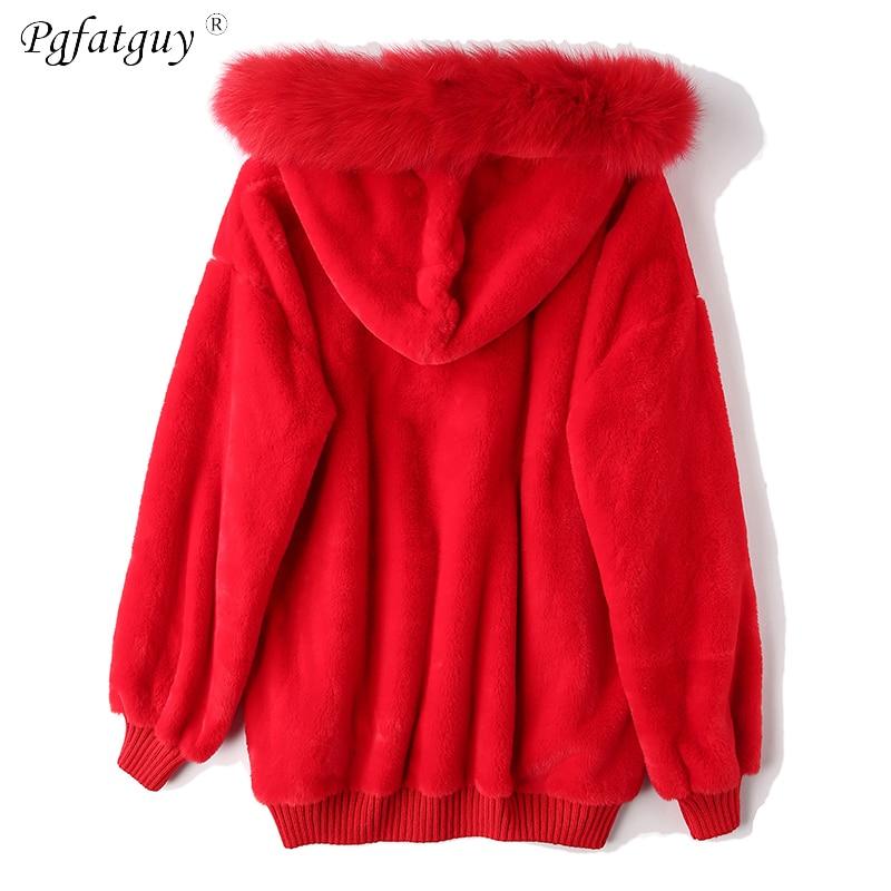 Épaissir Grande Manches Sweatshirts blanc Broderie Hiver rouge Lâche Harajuku Fourrure Pulls Mujer Hoodies Sudaderas Lettre À Longues Capuchon Noir Feuilles BYq6vv