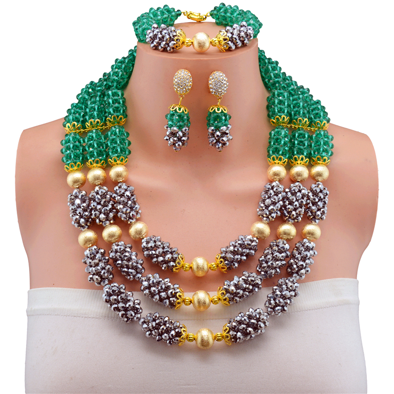 Nigerian Wedding Three Layer Necklace Bracelet Earring Indian Jewelry Sets Necklace Fashion African Beads Jewelry Set red color african beads jewelry sets two layer beads indian jewelry sets luxury statement choker necklace fashion jewellery