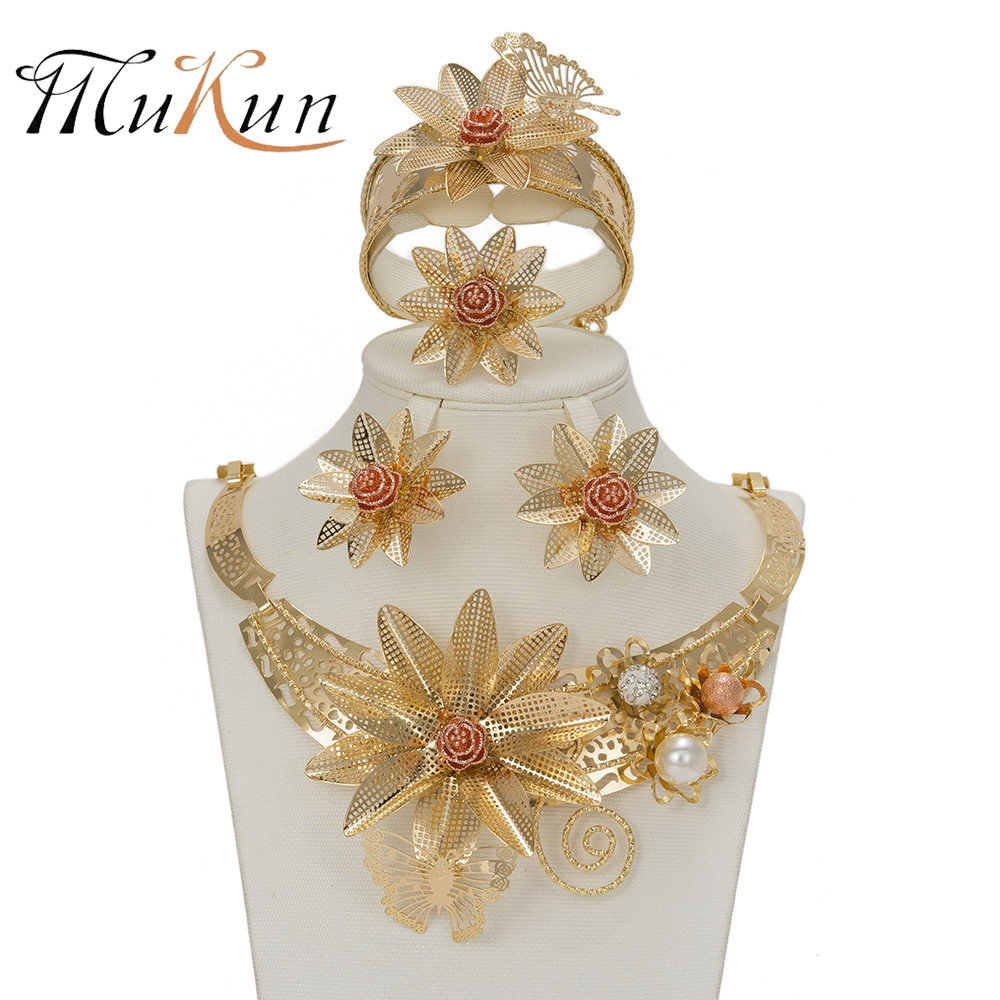 Mukun Fashion Flower Gold Color Jewelry Set African Beads