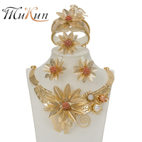MUKUN Fashion Flower Gold Color Jewelry Set African Beads Vintage Women Wedding Statement Big Necklace Bracelet Earrings Ring
