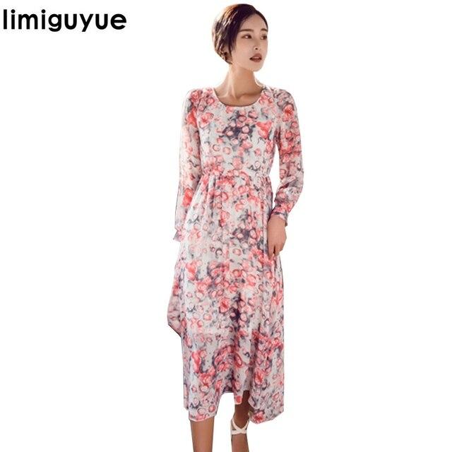 Limiguyue 2018 Runway imprimir vestidos largos de manga larga ...