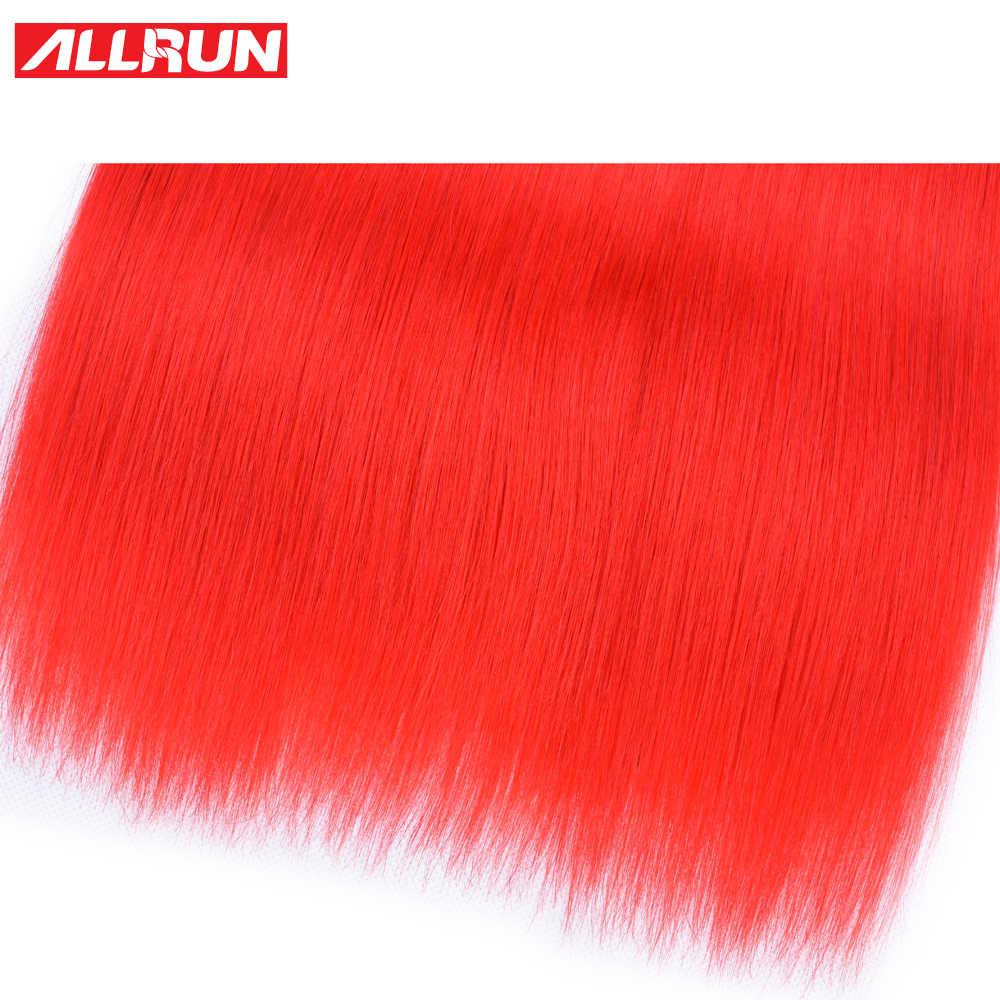 ALLRUN бразильские человеческие волосы плетение пучки красочные прямые пучки волос темно-красный окрашенная Волосы remy наращивание 1/3/4 пучки волос