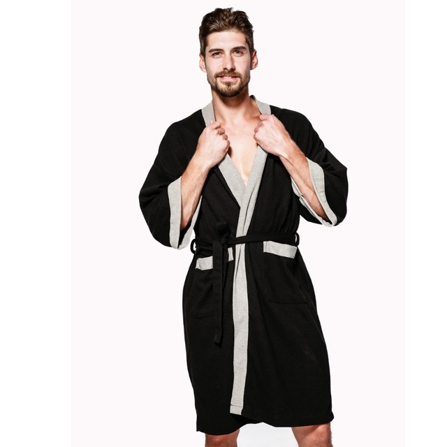 9077b1d468 Hot sale waffle cotton women robes long-sleeved simple high quality hotel  Sauna SPA bathrobes for women couples robes plus size
