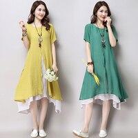 Fashion Asian Style Layered Multi Slit Linen Dress Spring Summer Short Sleeve Women Dress