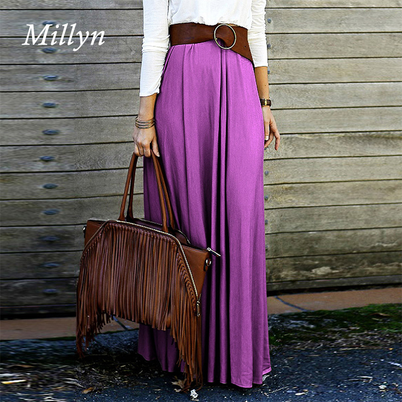 Millyn Ideas Maxi Skirt 2017 Summer autumn winter new Purple orang ...