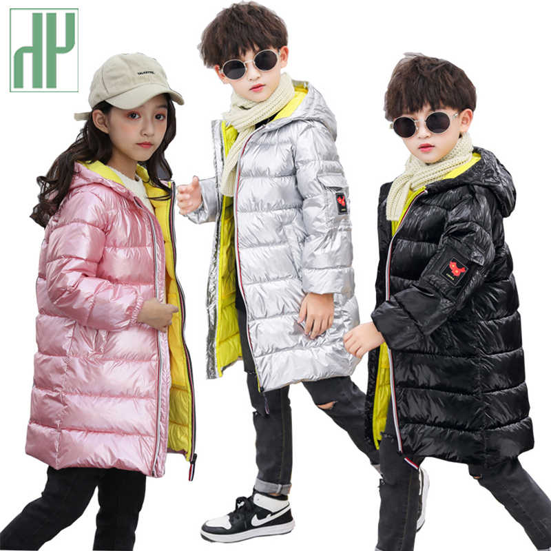HH 3-12 Years Girls Boys Winter jacket kids Pink Silver Hooded Padded Jacket Parka Long Overcoat snowsuit children jacket