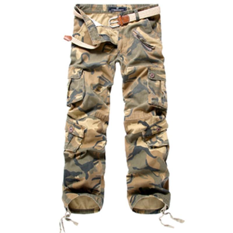 Active 2017 hommes printemps armée vert mode Cargo pantalon entrejambe survêtement Patchwork pantalon mâle facile à laver grand Camouflage Cargo pantalon