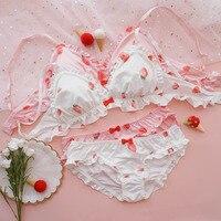 Kawaii Sweet Lolita Women's Strawberry Print t Bra & Panties Lingerie Set Bow Ruffle Design Japanese Bikini Briefs Intimates