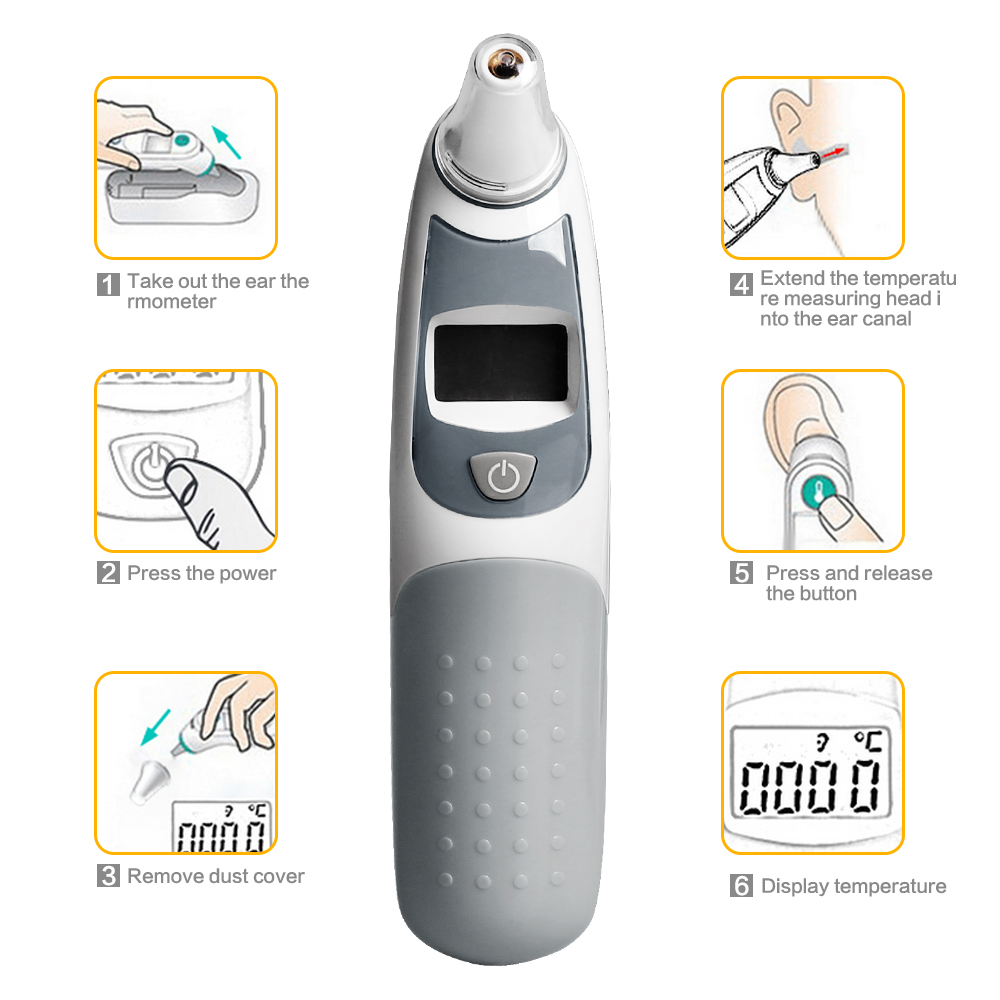 GL LCD Digital Infrared Baby Ear Thermometer Non-contact Ear & Forehead Body Temperature Baby Adult Medical Fever Thermometer 1