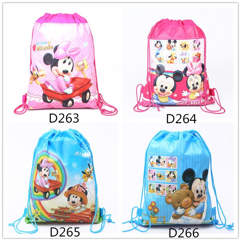 120pcs Cartoon Non Woven Fabric Drawstring Bags Movie CoCo Minnie Backpack Birthday Party Gift Plush Backpack