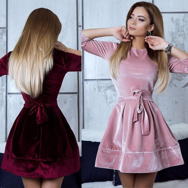 67477c9587b Платья бархатное платье женское зима на Новый год осень 2017 теплое с  бантом туника женская трапеция
