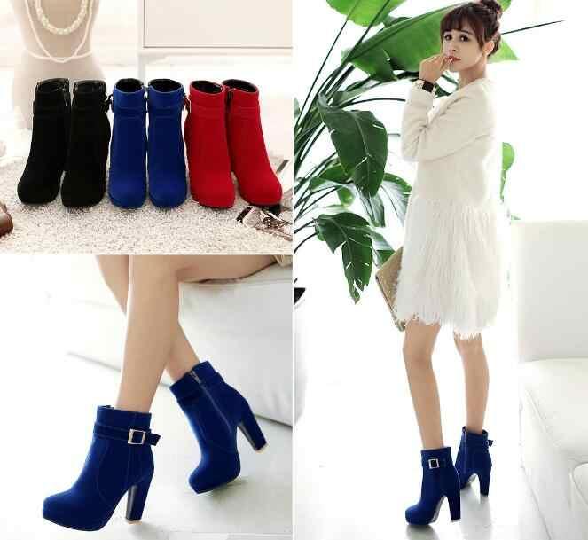 Kırmızı Yüksek Topuklu Kadın yarım çizmeler Lace Up Sonbahar Kış Platformu Bayanlar Çizmeler Büyük Boy moda ayakkabılar Siyah mavi