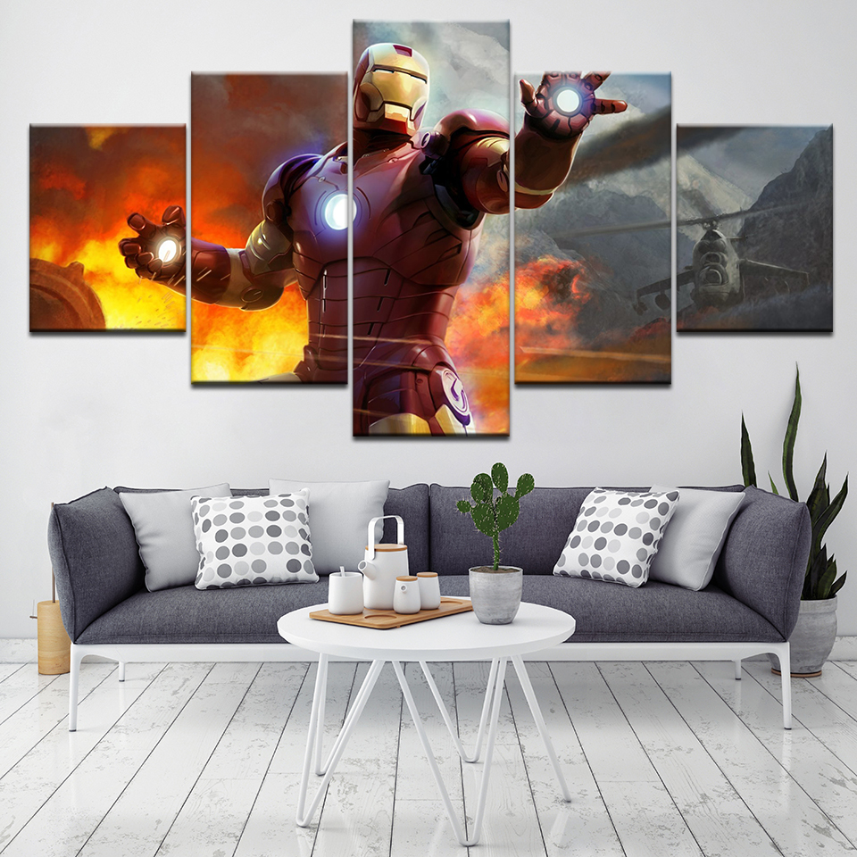 Modern Home Decor 5 Pcs Iron Man Canvas Art Print Poster Picture Frames Modular Painting on the Wall Decoration Picture Artwork
