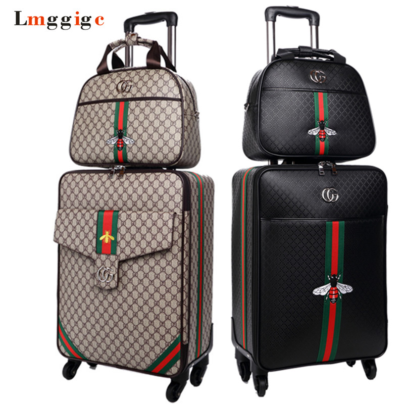 Women 's Travel Luggage Suitcase bag set,Waterproof PU leather Box with Wheel ,162024 inch Rolling Trolley case vintage suitcase 20 26 pu leather travel suitcase scratch resistant rolling luggage bags suitcase with tsa lock
