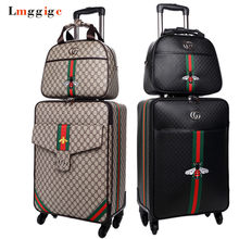 353af2bc8dbb Для женщин путешествия чемодан сумка в комплекте, водостойкий искусственная  кожа коробка с колесом, 16