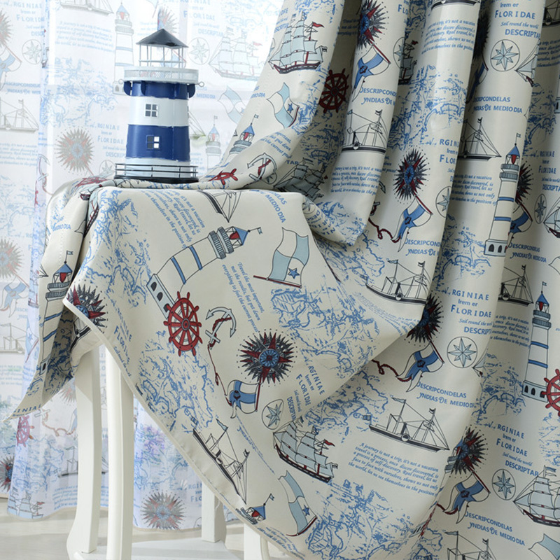 Pirate Ship Anchor Blackout Curtains for Children Kid Room Living Room Bedroom Window Curtains Blackout Japanese Panel Drapes